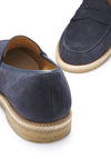 Blue Suede Crepe Loafer Front and Back