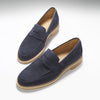 Blue Suede Loafers, Crepe Rubber Welted Sole