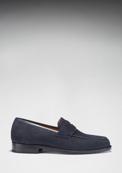 Blue Suede Loafers, Welted Leather Sole