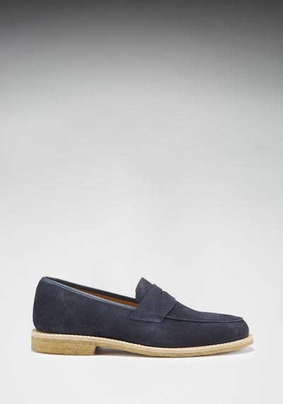 Blue Suede Crepe Loafer Side On With Shadow