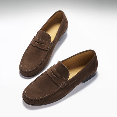 Brown Suede, Penny Loafers, Leather Sole Three Quarter
