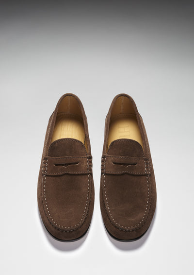 Brown Suede, Penny Loafers, Leather Sole Front
