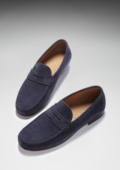 Navy Suede, Penny Loafers, Leather Sole Three Quarter