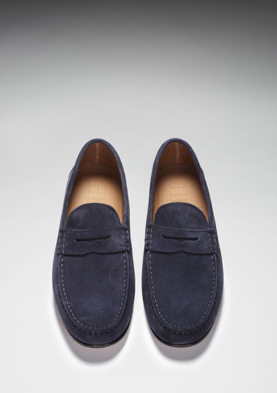 Navy Suede, Penny Loafers, Leather Sole Front