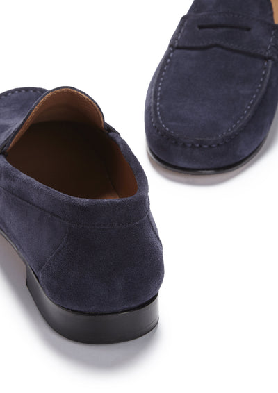 Navy Suede, Penny Loafers, Leather Sole Front and Back