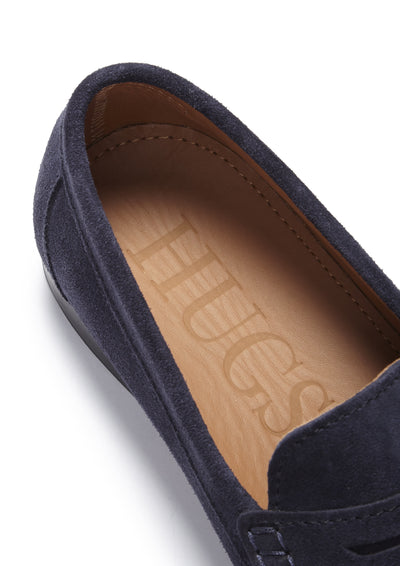 Insole, Navy Suede, Penny Loafers, Leather Sole