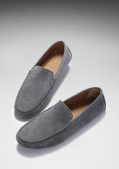 Driving Loafers Slate Grey Suede