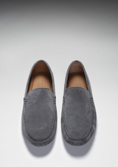 Driving Loafers Slate Grey Suede Front