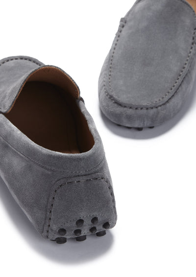 Driving Loafers Slate Grey Suede Front and Back