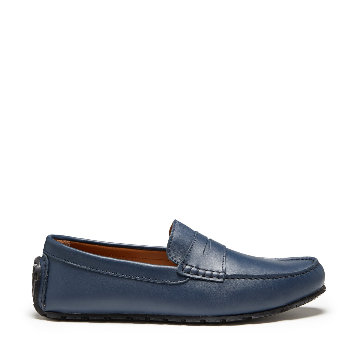 Tyre Sole Penny Driving Loafers, french navy leather
