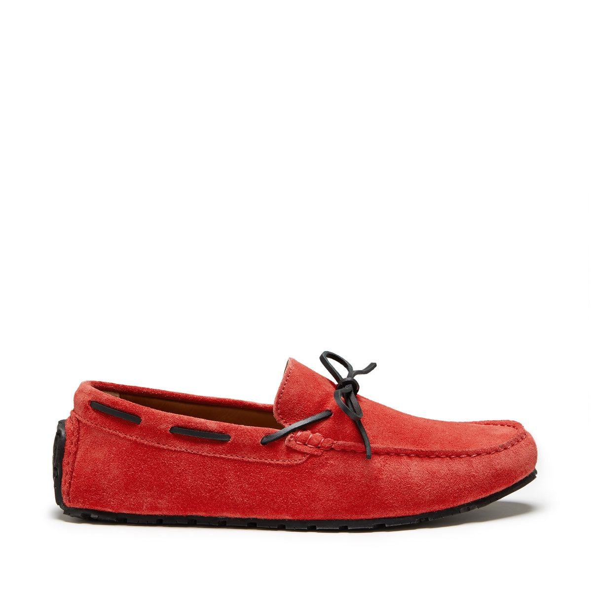 Tyre Sole Laced Driving Loafers, red suede