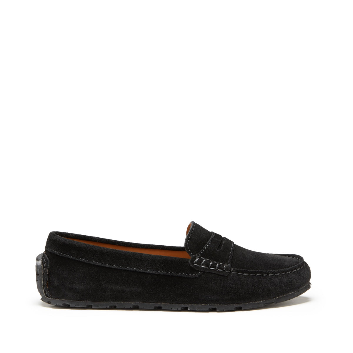 Women's Tyre Sole Penny Loafers, black suede