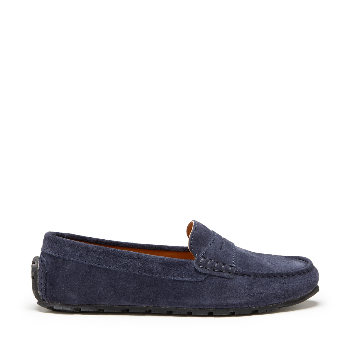 Women's Tyre Sole Penny Loafers, navy blue suede