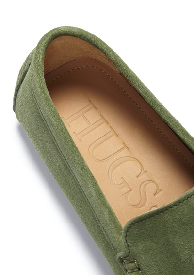 Tasselled Driving Loafers, safari green suede