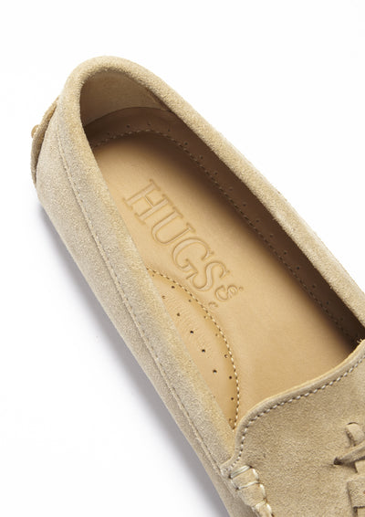 Women's Driving Loafer, Tasselled Taupe Suede