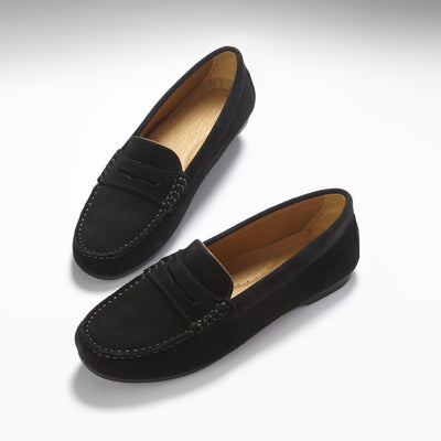 Women's Penny Driving Loafers Full Rubber Sole, black suede