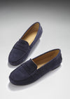 Women's Penny Driving Loafers Full Rubber Sole, navy blue suede