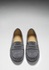Women's Penny Driving Loafers Full Rubber Sole, slate grey suede
