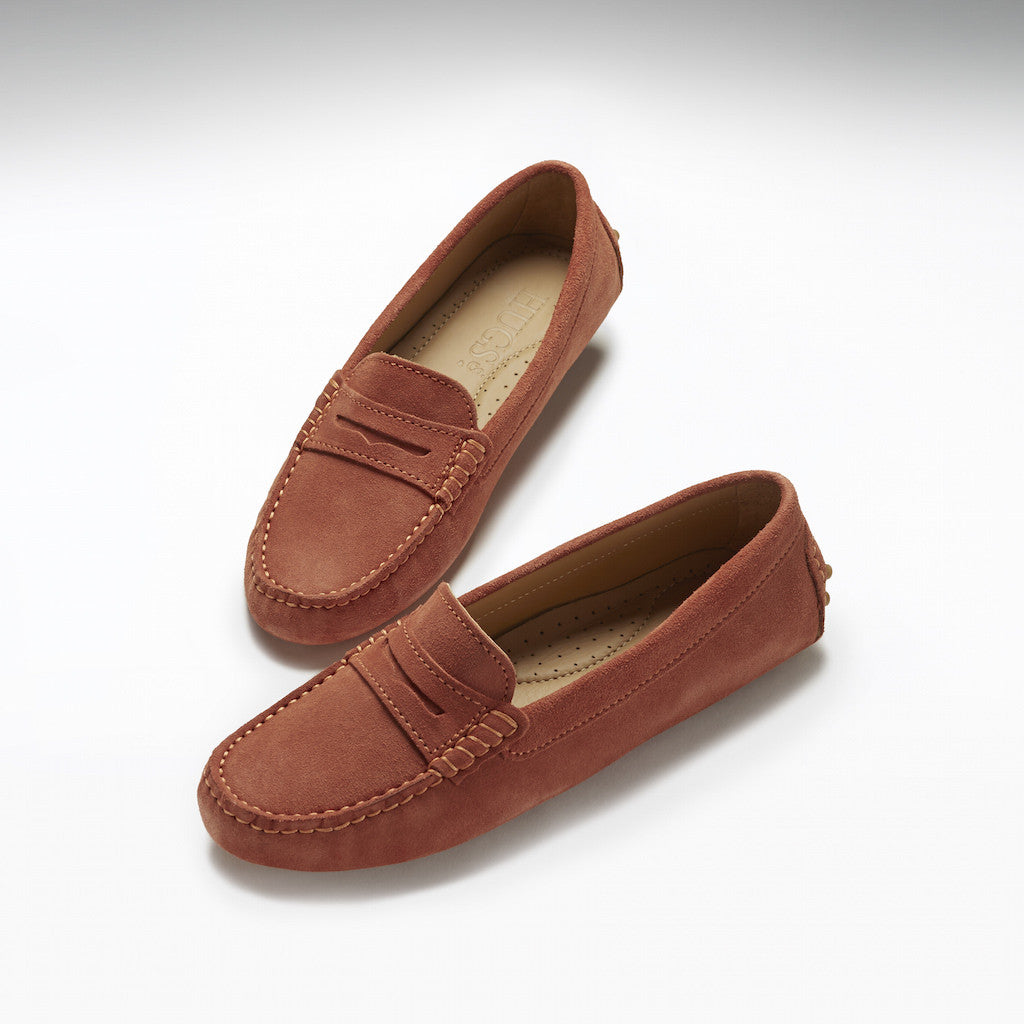 Women's Penny Driving Loafers, mango suede