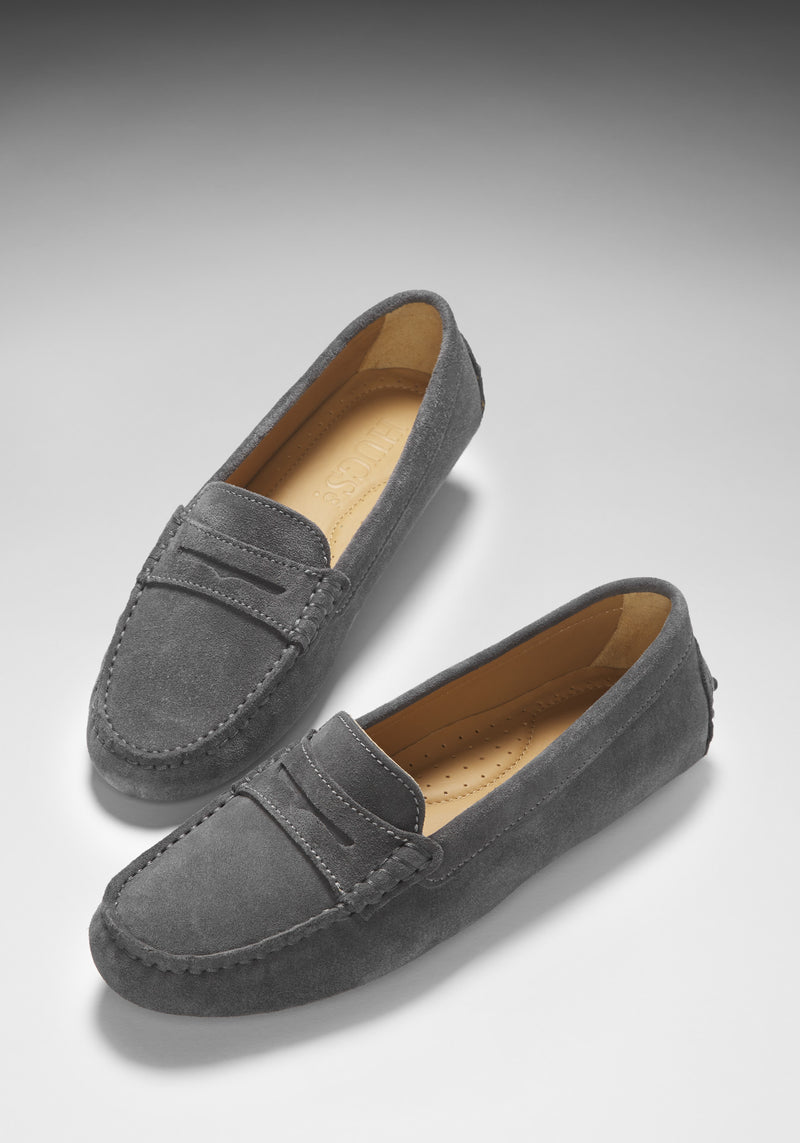Women S Penny Driving Loafers Slate Grey Suede Hugs Amp Co