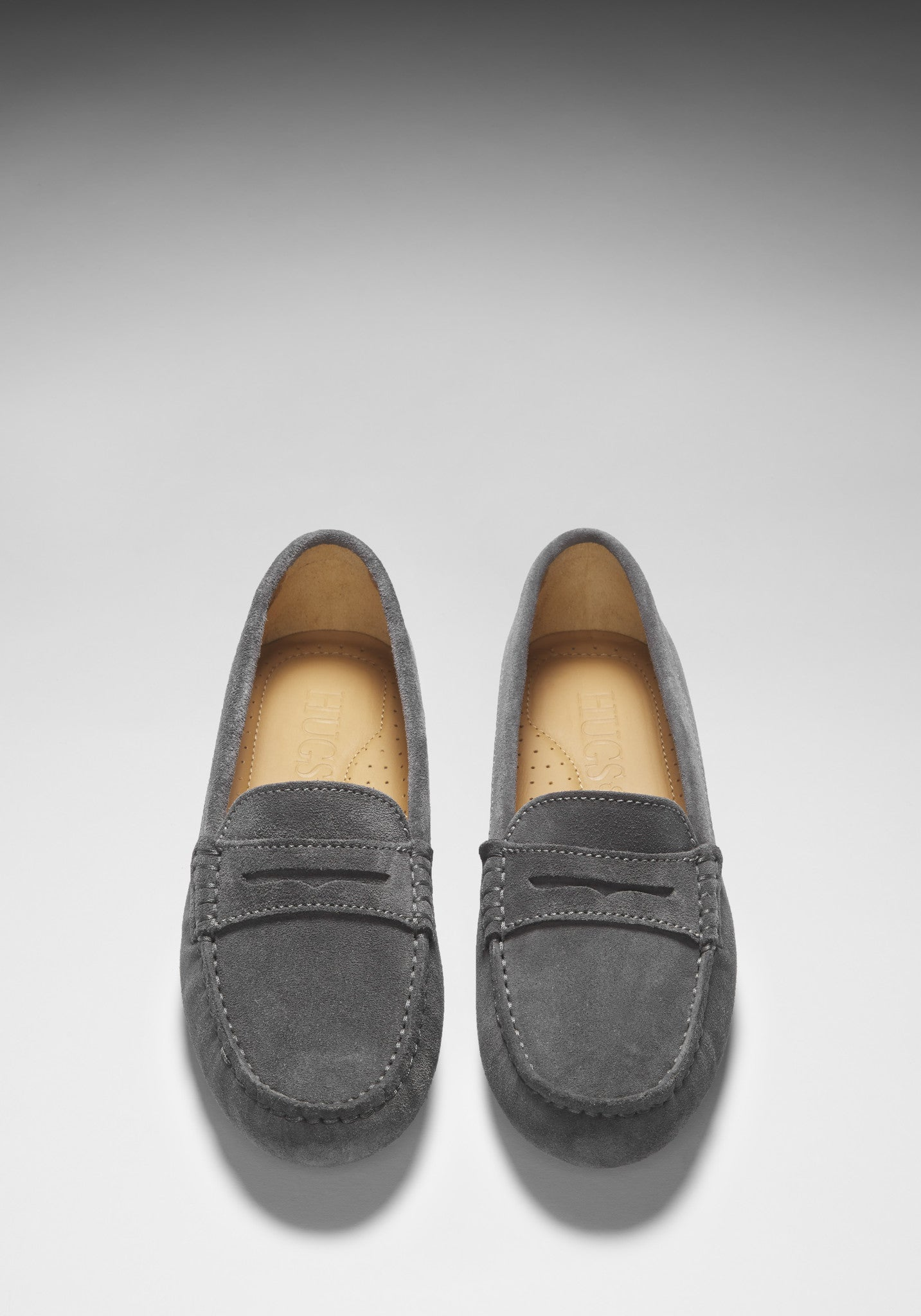 Women's Penny Driving Loafers, taupe suede - Hugs & Co.