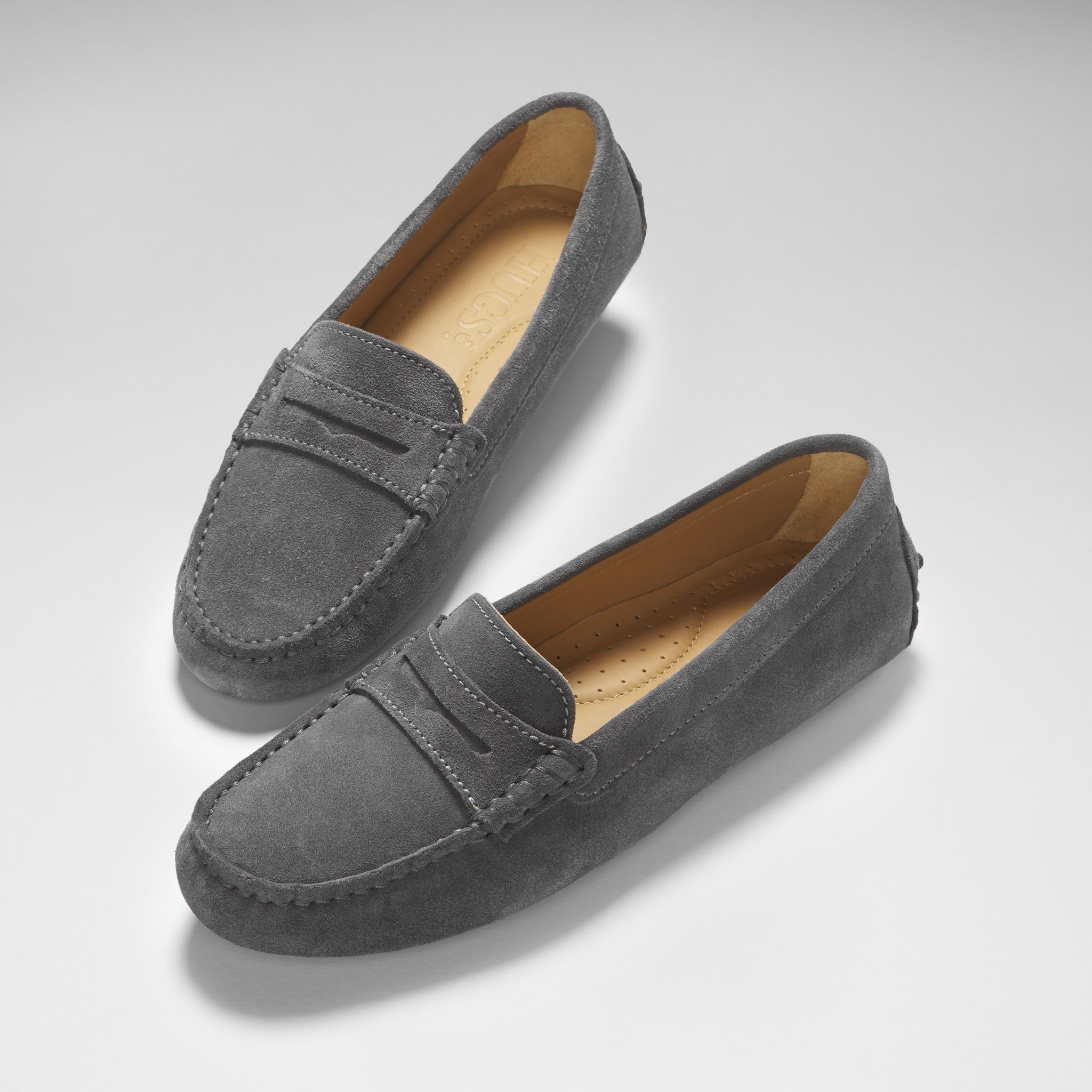 Women's Penny Driving Loafers, turquoise suede - Hugs & Co.