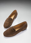 Women's Penny Loafers Leather Sole, brown suede