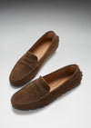Women's Tyre Sole Penny Loafers, brown suede