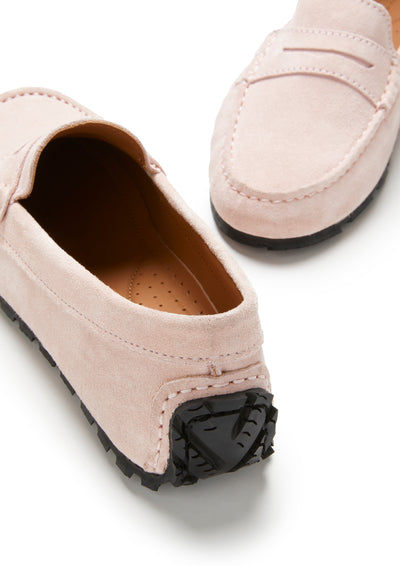 Women's Tyre Sole Penny Loafers, ice pink suede