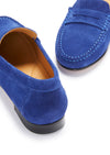 Women's Penny Loafers Leather Sole, ink blue suede
