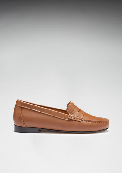 Women's Penny Loafers Leather Sole, tan leather