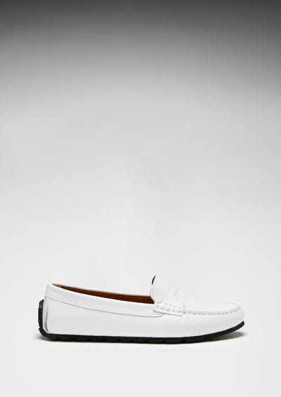 Women's Tyre Sole Penny Loafers, white leather