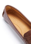 Women's Penny Driving Loafers Full Rubber Sole, brown leather