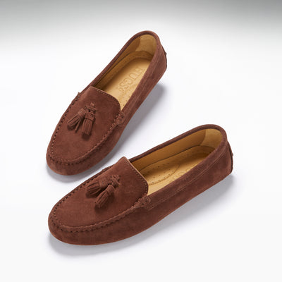 Women's Tasselled Driving Loafers, mahogany brown suede