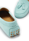 Women's Tasselled Driving Loafers, aqua suede