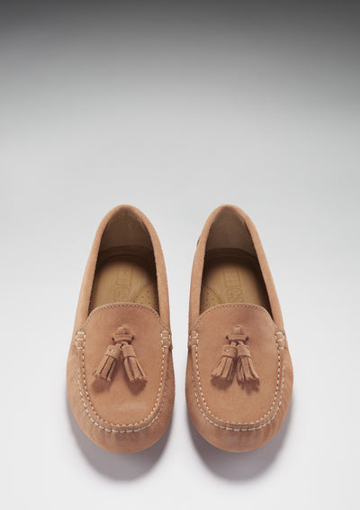 Women's Tasselled Driving Loafers, peach suede