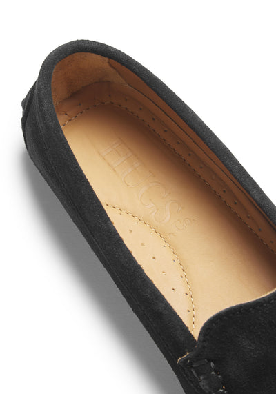 Women's Tasselled Driving Loafers, black suede