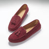 Women's Tasselled Driving Loafers, burgundy suede