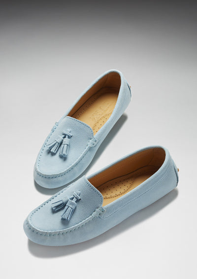 Women's Tasselled Driving Loafers, sky blue suede