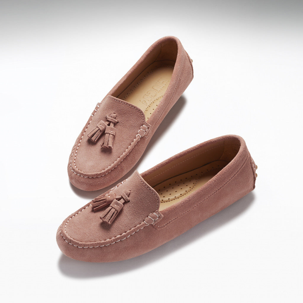 Women's Tasselled Driving Loafers, shell pink suede