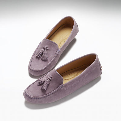 Women's Tasselled Driving Loafers, lilac suede
