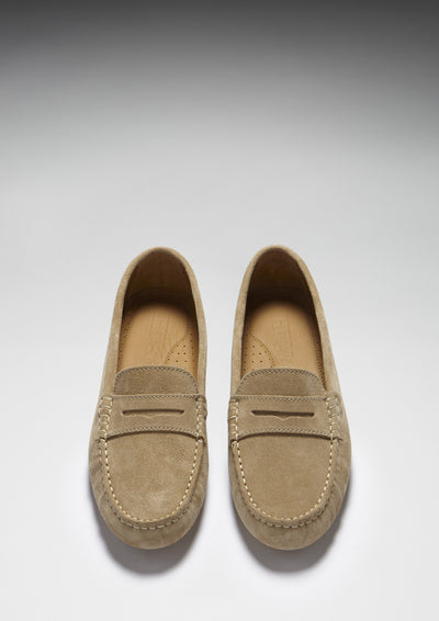 Women's Penny Driving Loafers, taupe suede