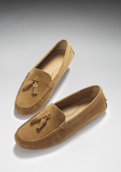 Women's Tasselled Driving Loafers, tobacco suede