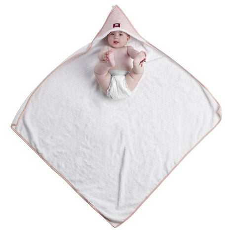Baby in Red Castle's pink hooded bath towel