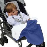 Double Fleece Baby Blanket Blue / Ivory covering child in pram