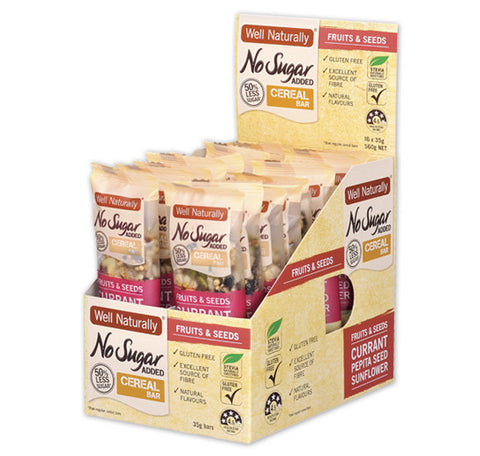 Well Naturally No Sugar Added Cereal Bars 35g - Fruits & Seeds x16