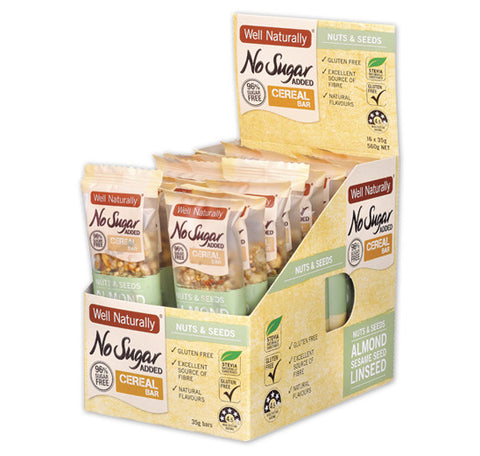 Well Naturally No Sugar Added Cereal Bars 35g - Nuts & Seeds x16