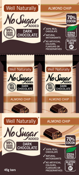No Sugar Added Dark Chocolate - Almond Chip x16