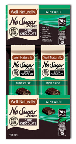No Sugar Added Dark Chocolate - Mint Crisp x16