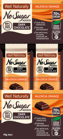 No Sugar Added Dark Chocolate - Valencia Orange x16